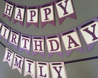 Happy Birthday Banner - Purple Ombre - Girls Birthday Banner - Purple Banner - Spa Party - Slumber Party