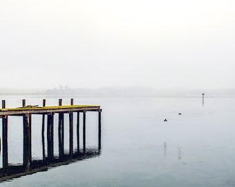 Foggy Pier,  Nautical Image, Art, Photography, Beach Home Decor, Blue White  Gray Print, Fine Art,  Coastal Home Decor