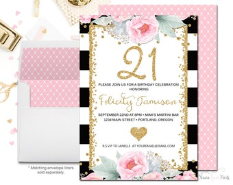 Black and White Striped 21st Birthday Invitation, 21st Birthday Party Invitation, Milestone Invitation, Adult Birthday, Surprise Party