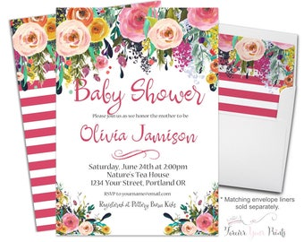 Baby Shower Invitation Girl, Floral Baby Shower Invitation, Girls Shower Invite, Whimsical Baby Shower, Watercolor Baby Shower, Shabby Chic