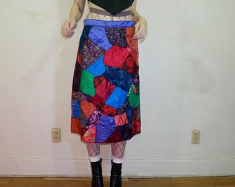 vintage 60s patchwork stained glass skirt size L