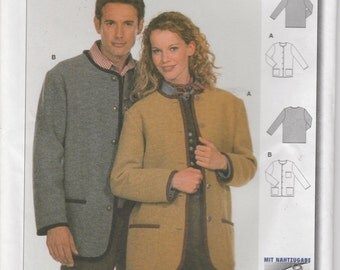 Jacket Pattern Fall Coat Pattern Misses Size 10 - 20 Mens Size 36 - 46 Uncut Burda 2710