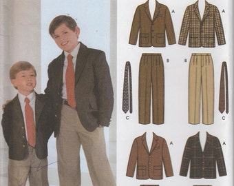 Boys Suit Pattern Pattern Tie Suit Coat Lined Jacket Boys Size 3, 4, 5, 6  uncut Simplicity 5732