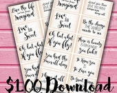 INSTANT DOWNLOAD/ Quote Cards/ Journal Prompts/ Journaling Cards/ Scrapbook Cards/ Cardmaking Labels/ Card Inserts/ Journal Prompts/ DIY