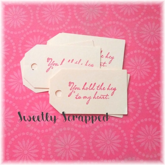 You Hold The Key To My Heart Tags ... Valentine, Love, Romance, Small Tags, Favor Tags, Cream, Vintage Inspired, Script, Elegant, Cursive