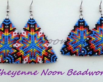 Native American Beaded Earrings - Peyote-Stitch Triangles - Mother Daughter Set - Geometric Starburst - Azure Blue