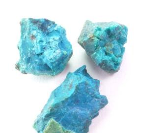 Rough Chrysocolla. Blue Green Chrysocolla. Blue, Chunky, Chrysocolla Rough. African.  3 Pcs. 30mm +/- CHY121
