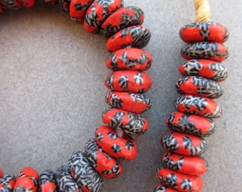 African Red Marbled Beads