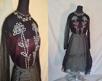 Floral Soutache Sheer Striped Vintage 1940's 1950's WWII Swing Rockabilly Women's Dress S M