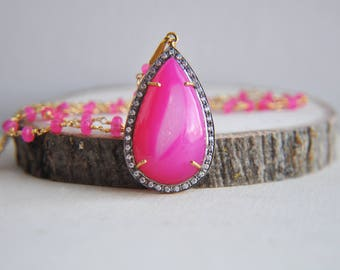 Pink Druzy Necklace, Druzy Necklace, Hot Pink Necklace, Statement Necklace, Summer Necklace, Long Pink Necklace, Pink Necklace, Pink, Boho