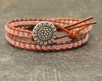 Peach Sunflower Bracelet Beaded Leather Sunflower Jewelry