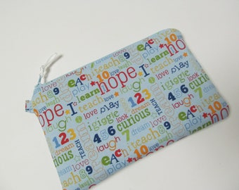 "Zipper Pouch/5.25""x8.5""/Letter x Pale Blue Zipper"