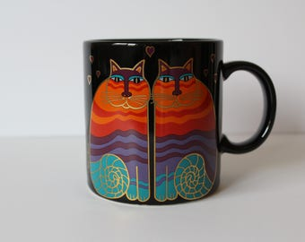 Vintage Laurel Burch Ceramic Mug Rainbow Cats Black