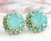 Mint Earrings,Swarovski Mint Earrings,Gift for her,Bridesmaids Earrings,Turquoise Crystal Stud Earrings,Bridal Mint Earrings,Turquoise Studs