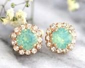 Mint Earrings, Mint Opal Earrings, Christmas Gifts, Swarovski Studs Earrings, Bridal Mint Earrings, Sea Glass Earrings, Bridesmaids Earrings