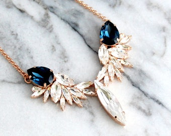 Blue Navy Necklace, Bridal Necklace, Bridal Statement Necklace, Dark Navy Necklace, Swarovski Crystal Bridal Blue Necklace, Blue Necklace