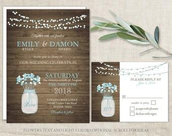 Rustic Mason Jar Wedding Invitation Set Mason Jar Wedding Invitations Aqua  Floral Country Wood Barn Wedding