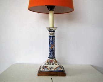 Vintage Frederick Cooper lamp/ blue and white table lamp/ candlestick lamp