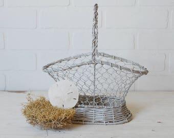 Farmhouse Basket, Wedding Basket, Chicken Wire Basket, Silver Metal Basket, Spring Basket, Egg Basket, Wicker and Wire Basket, Silver Basket