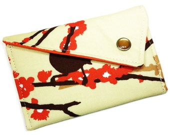 Business Card Case - Brown and Orange Birds and Branches