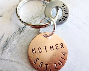 MOTHER Keychain - Mom - Mommy Personalized Hand Stamped Key Chain - Copper Disc & Washer
