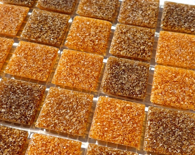 Brown Vitreous Glass Mosaic Tiles Squares - 3/4 inch - 25 Tiles for Craft Projects and Decorations - Various Shads of Tree Bark Brown