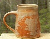 Red Fern Mug, 22oz. Large Coffee Tea Handmade, Microwave friendly Stoneware Roomy Handle Wheel Thrown Home and Living Kitchen and Dining