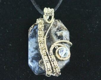 Silver wire Black Lace Agate pendant