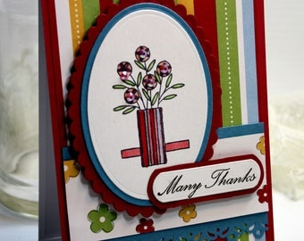 "Handmade Thank You Card - 3D Greeting Card - 4.25 x 5.5"" Many Thanks Blank Stationery Notecard Grateful Gratitude - OOAK"