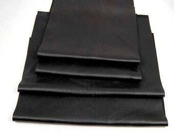 RECLAIMED BLACK LEATHER Pieces Very Soft Supple Fine Grain Scraps 1306
