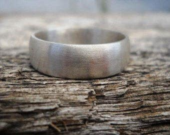 Wedding band, mens ring, for the groom, for him, sterling silver, modern ring, jewelry, matte finish, 6mm wide, wedding ring