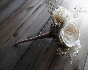 "Ships in 3 weeks ~~~ Rustic Bridesmaid Bouquet, 7"" wide by 9"" tall, has 7 flowers and a jute wrapped handle."