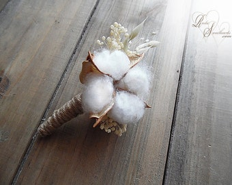 Rustic Cotton Boll Boutonniere with twine wrapped stem.