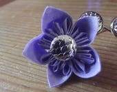 Silver and Purple Handmade Fabric Origami Flower Dragon Fish Mermaid Scale Hair Accessory