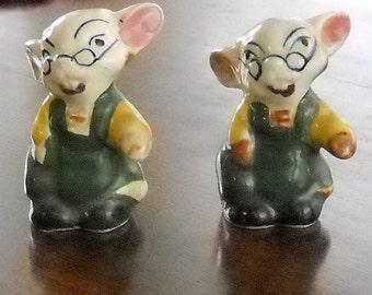 Vintage Salt and Pepper Shakers - Mice