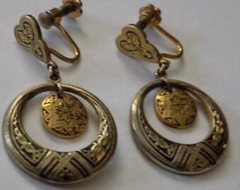 Vintage earrings,Spanish or Swiss damascene dangle drop flower screw back earrings, jewelry