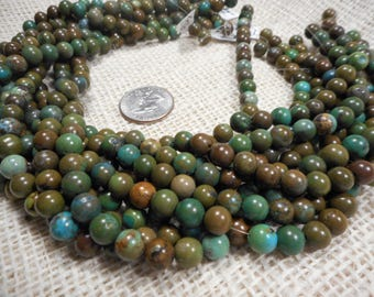 8mm Green/Brown Turquoise Round Gemstone Beads 15 in. strand  T76