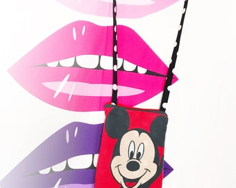 Mickey Mouse vintage style purse side bag zipper closure disney character