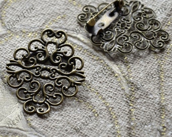 10 pcs Antique Bronze flower Filigree Brooch Base,brooch Filigree Floral Base Setting