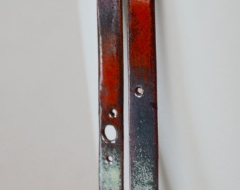 Red, Aqua ,Plum Torch Fired Enamel, Punched Bar Earrings