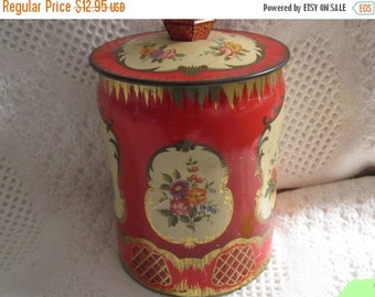 HOLIDAY 25% SALE Vintage Tin Box, England Floral Tin George Horner Candy Knob Red Gift Box Collectible
