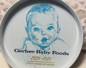 MOTHERS DAY SALE Vintage Gerber Baby Food Tin Tray Anniversary Started 1928 Americana Advertising