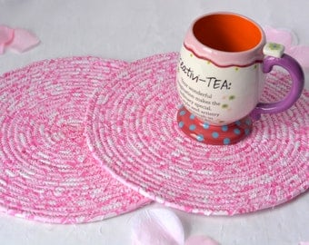 Pink Place Mats, 2 Handmade Fabric Hot Pads, 2 Pink Heart Mug Rugs, Lovely Kitchen Decor, Desk Accessory, Table Toppers, Potholders