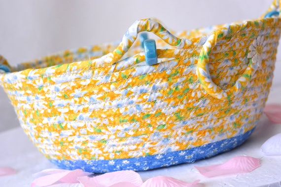 Spring Floral Basket, Mother's Day Gift, Handmade Floral Fabric Basket, Happy Spring Bowl, Shabby Chic Yellow Bowl