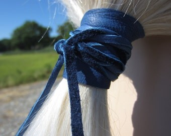 Ponytail Holder Hair Tie Blue Leather Wrap Pony Tail Cuff Hair Jewelry Z301