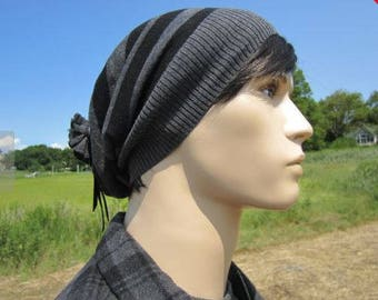 Lightweight Slouchy Beanie Black Gray Striped Leather Tie Back Men's Cotton Knit Hat A1497