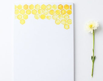 Stationery Notepad | Large Illustrated Notepad | Honeycomb |