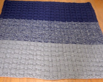 Blue and Grey Double Stranded Afghan