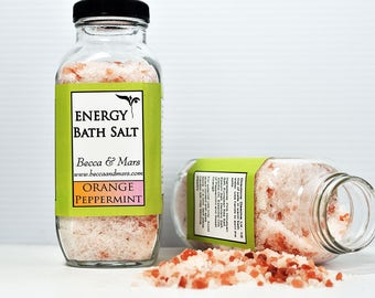 Energy Bath Salt, Bath Soak - Orange, Peppermint, 16oz Pink Himalayan Salt