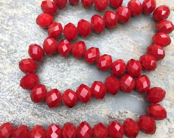 Red Faceted Rondelle Beads, 10mm, 12 inch strand